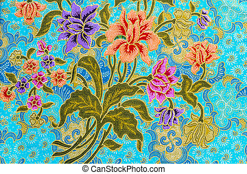 Beautiful colorful flowers on batik background - Beautiful...