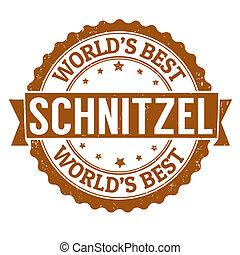 Schnitzel stamp - Schnitzel grunge rubber stamp on white,...