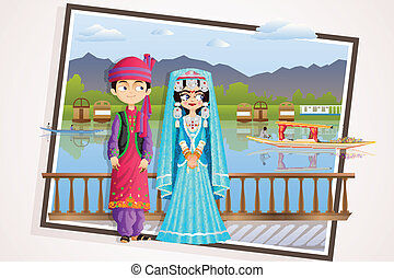 Kashmiri Wedding Couple - easy to edit vector illustration...