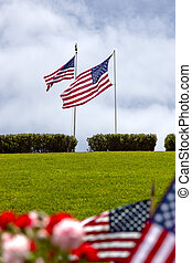 American Flags at United States National Cemetery - American...