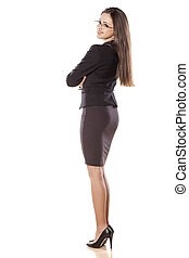 self confidence - young business woman with arms crossed on...
