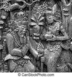 Sculpture of traditional India art in black and white