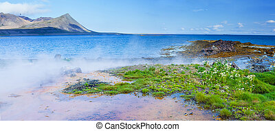 Hot geothermal spring. - Landscape with geothermal spring...