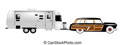 retro rv with woody station wagon - woody station wagon and...