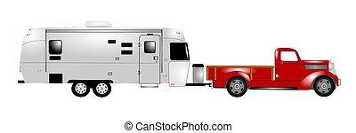 RV, cogliere, camion, su,  retro