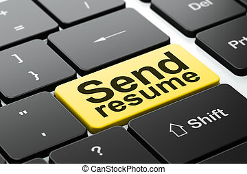 Finance concept: Send Resume on computer keyboard background...