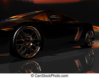 sports car - 3d render of sports car in dark