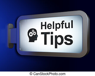 Education concept: Helpful Tips and Head With Gears on...