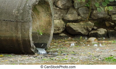 sewage pipe. - Water flowing from a drainage pipe.