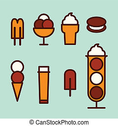 Ice cream set - Ice cream icons, vector illustration