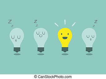 Individual - bright idea concept with light bulb