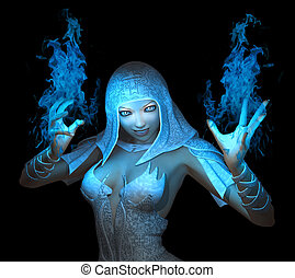 wizard girl - 3d render of wizard