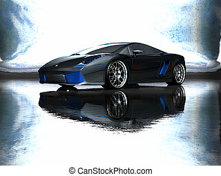 sports car - 3d render of custom sports car