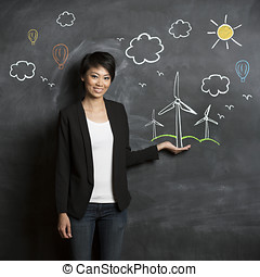 Asian woman in front of eco sketch on chalkboard - Asian...
