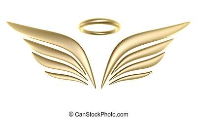 3D, 鳥, 機翼, 符號