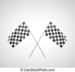 finish flags - Two finish flags Crossed Isolated on a black...
