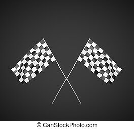 Two Checker Flags Crossed Isolated on a White Background