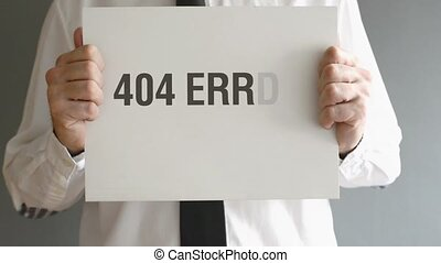 404 error Page not Found - Businessman holding paper with...