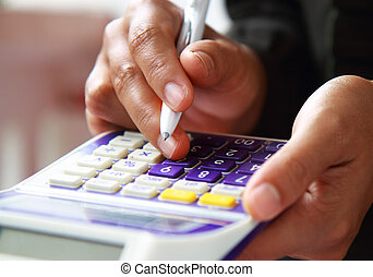 Business concept hand analyzing financial data - Close-up...
