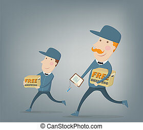 Two couriers delivering packages - Free shipping. Two...