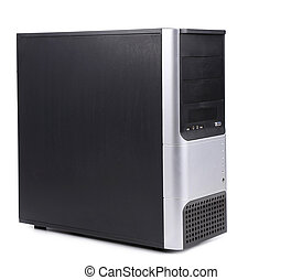 Black computer case Isolated on a white background