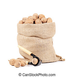 Walnuts in sack.