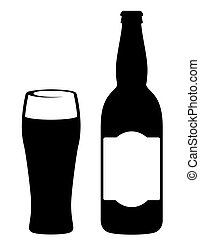 black beer bottle with glass on white background