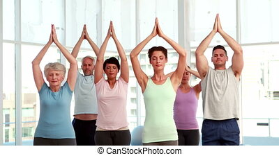 Yoga class doing tree pose together at the gym