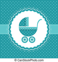 Baby announcement card. Vector illustration.