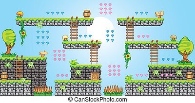 2D Tileset Platform Game 36 - Tile set Platform for Game - A...