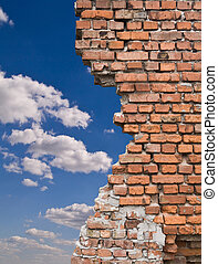 old wall and blue sky with clouds