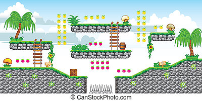 2D Tileset Platform Game 38 - Tile set Platform for Game - A...