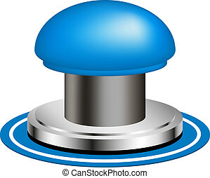 Blue alert push button on white background
