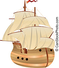 Old Sailing Ship - Vintage wooden sailing ship on white...