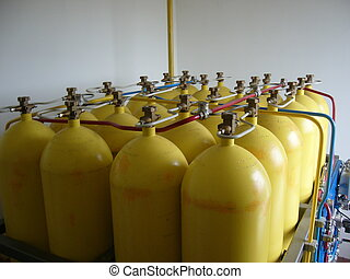 Compressed natural gas cylinders - A photo of Yellow...