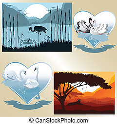 Set of vector pictures on romantic and natural theme
