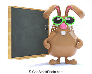 3d Easter bunny teaches the class - 3d render of a chocolate...
