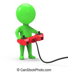 3d Green man plays video games - 3d render of a little green...