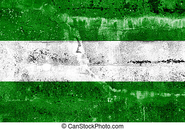 Rotterdam City Flag painted on grunge wall