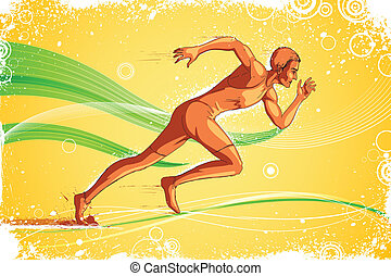 Runner Athlete - easy to edit vector illustration of running...
