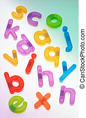 Scattered Fridge Magnets. Letters - Fridge magnets scattered...