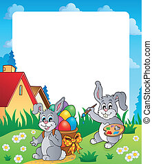 Frame with Easter bunny topic 4