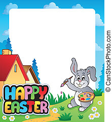 Frame with Easter bunny topic 5