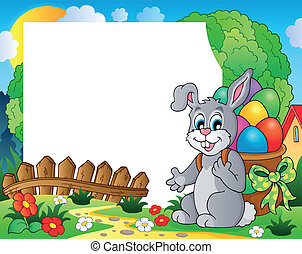 Frame with Easter bunny theme 4 - eps10 vector illustration.