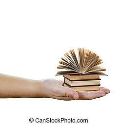 Education and knowledge concept - A hand holding books...