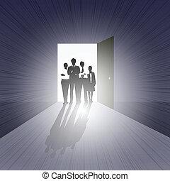 Business Team on Open Door - easy to edit vector...