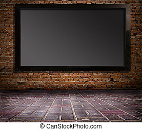 interior with a television set on an old wall
