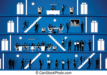 People working in Office - easy to edit vector illustration...