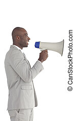 Businessman shouting in a Megaphone - Young Businessman...