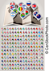 Map world 192 markers with flags Vector illustration